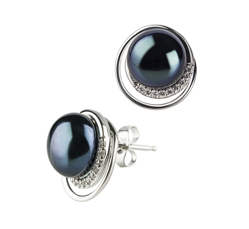 9-10mm AA Quality Freshwater Cultured Pearl Earring Pair in Kelly Black - #2