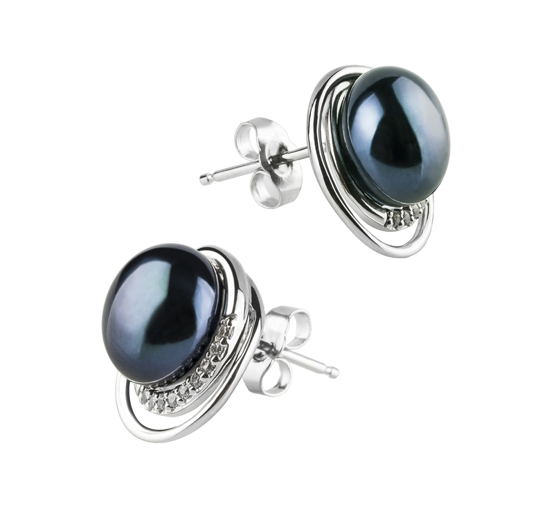 9-10mm AA Quality Freshwater Cultured Pearl Earring Pair in Kelly Black - #3