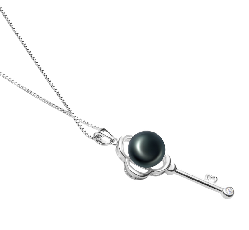 8-9mm AAA Quality Freshwater Cultured Pearl Pendant in Key Black - #3
