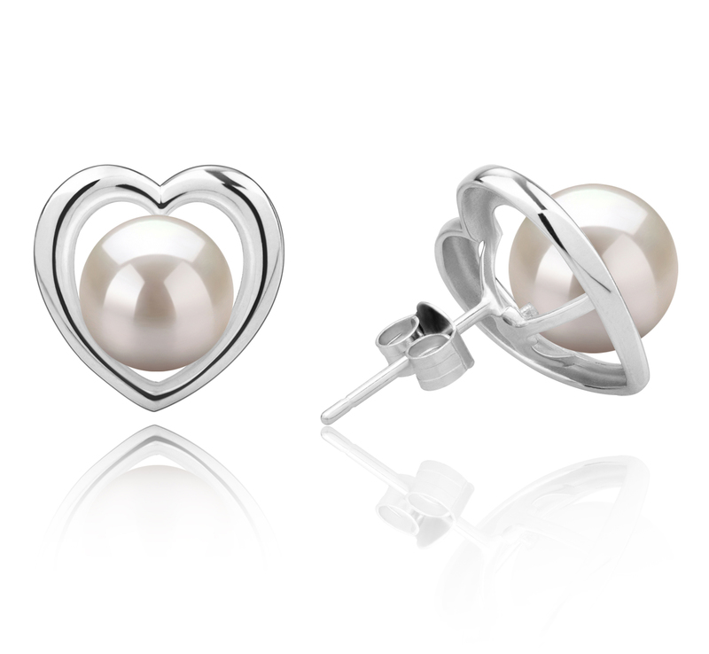 8-9mm AAAA Quality Freshwater Cultured Pearl Earring Pair in Kimberly-Heart White - #2