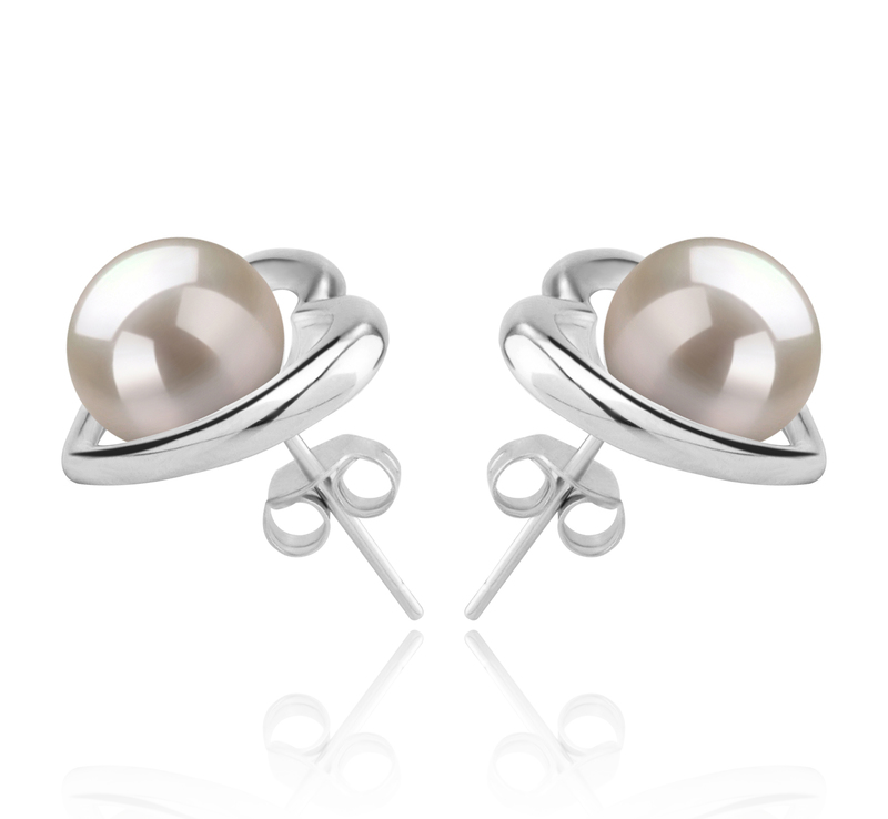 8-9mm AAAA Quality Freshwater Cultured Pearl Earring Pair in Kimberly-Heart White - #3