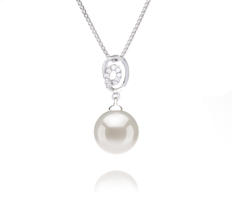 9-10mm AAAA Quality Freshwater Cultured Pearl Pendant in Kimberly White - #1