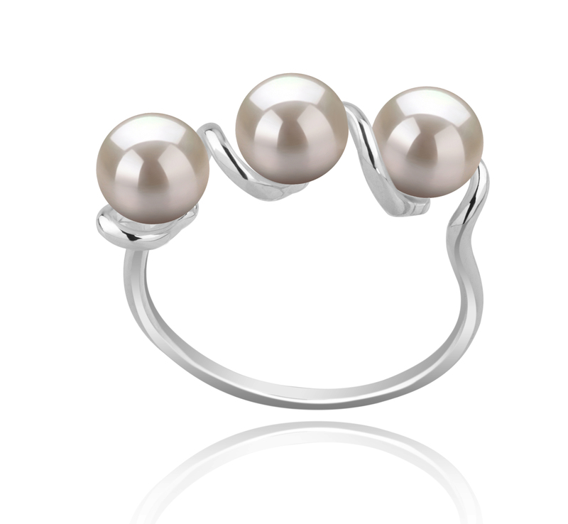 5-6mm AAAA Quality Freshwater Cultured Pearl Ring in Kitty White - #1