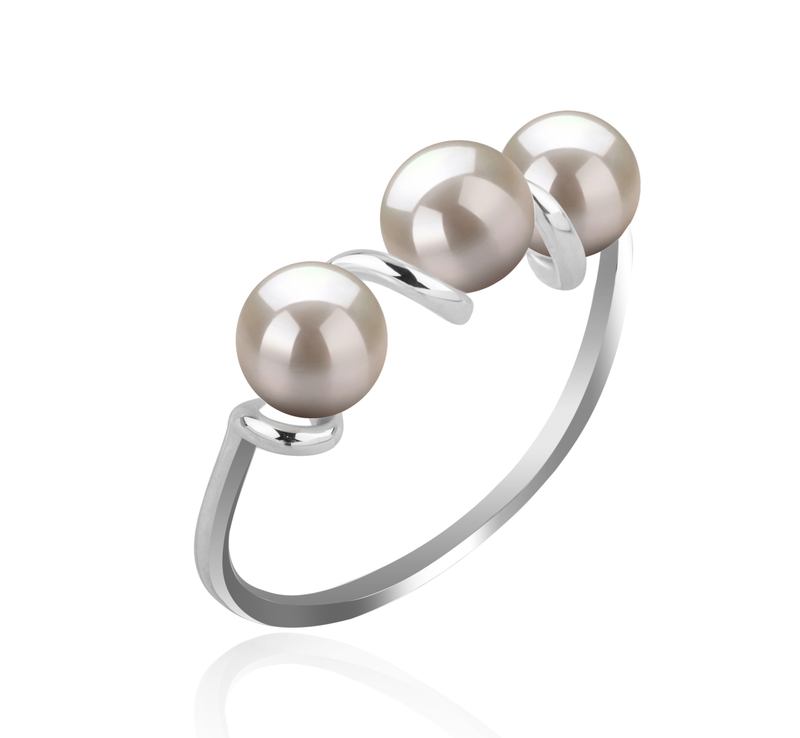 5-6mm AAAA Quality Freshwater Cultured Pearl Ring in Kitty White - #2
