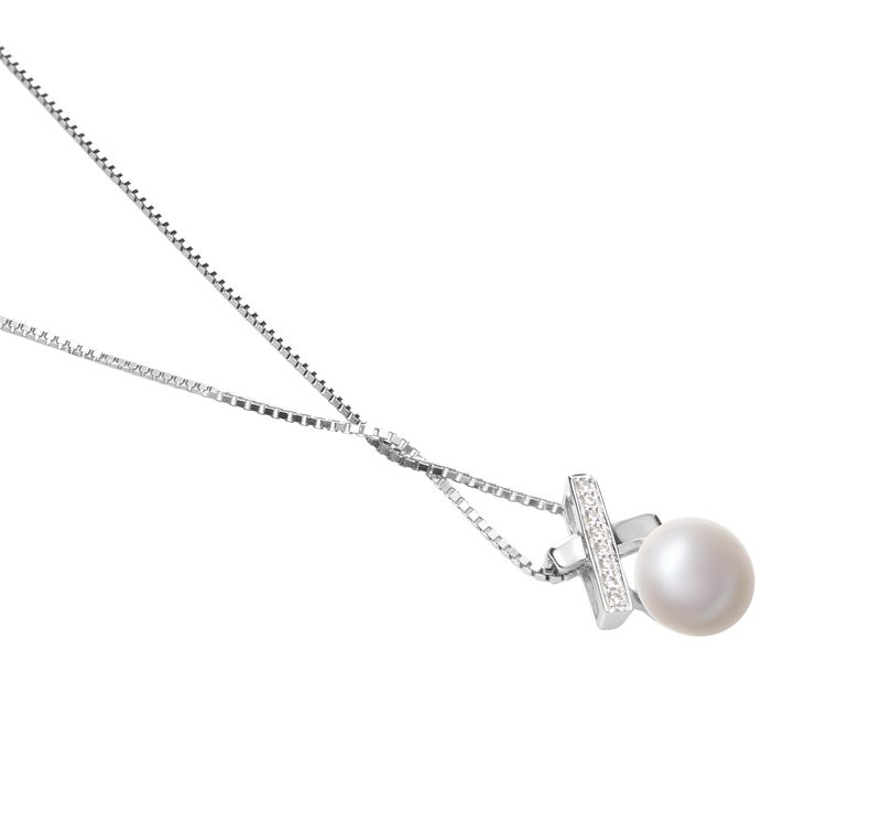 7-8mm AAA Quality Freshwater Cultured Pearl Pendant in Klarita White - #3