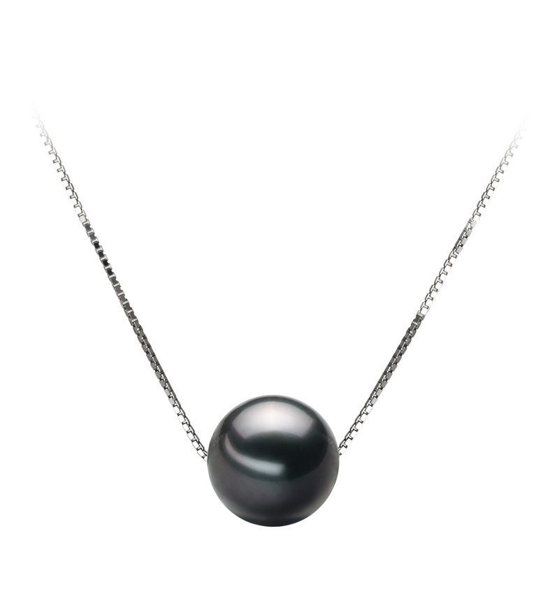 9-10mm AA Quality Tahitian Cultured Pearl Pendant in Kristine Black - #1