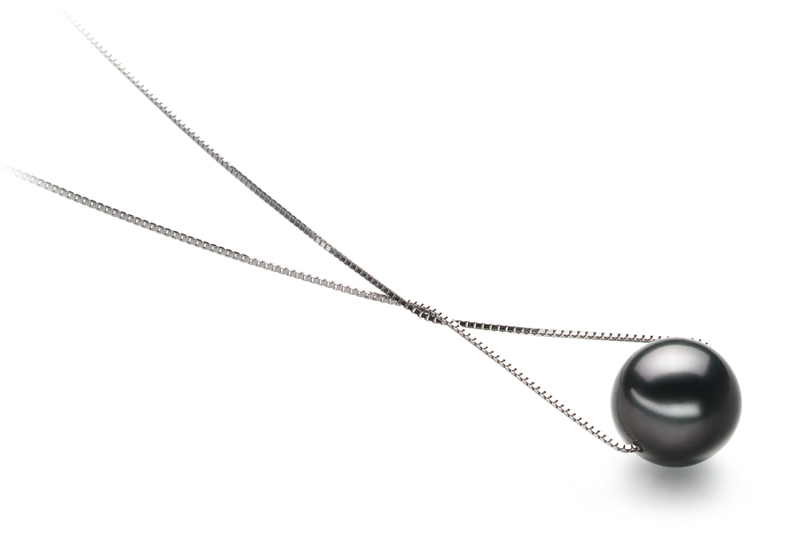 9-10mm AA Quality Tahitian Cultured Pearl Pendant in Kristine Black - #3