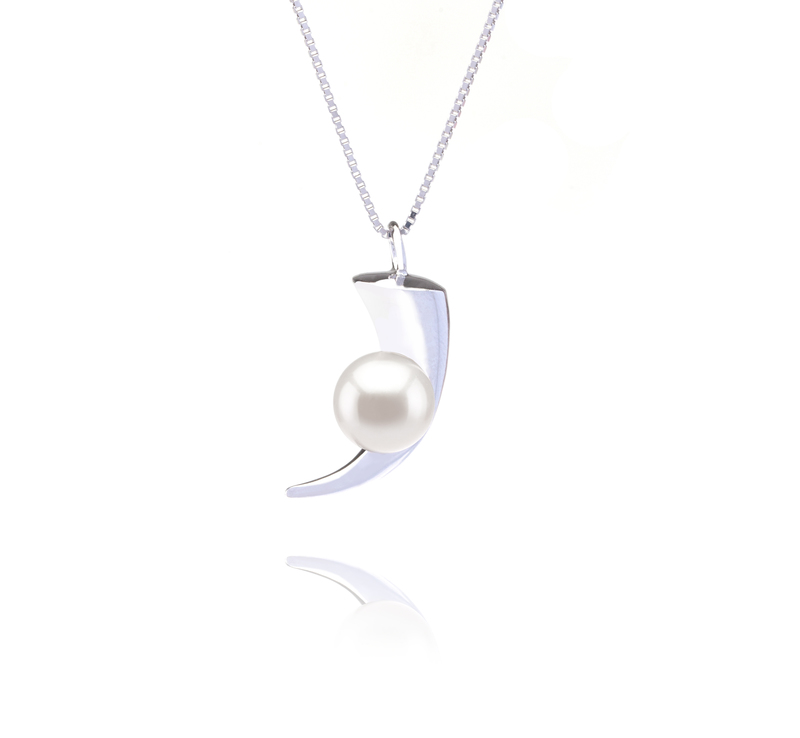 8-9mm AAAA Quality Freshwater Cultured Pearl Pendant in Larina White - #1