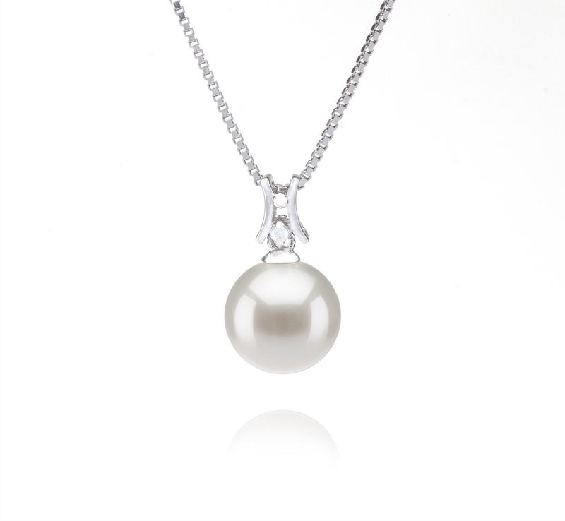 9-10mm AAAA Quality Freshwater Cultured Pearl Pendant in Lauren White - #1