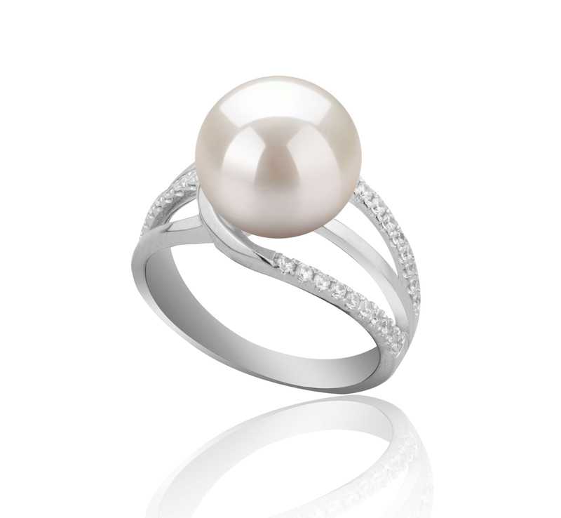 10-11mm AAAA Quality Freshwater Cultured Pearl Ring in Layana White - #2