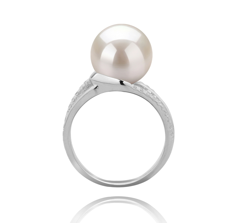 10-11mm AAAA Quality Freshwater Cultured Pearl Ring in Layana White - #3