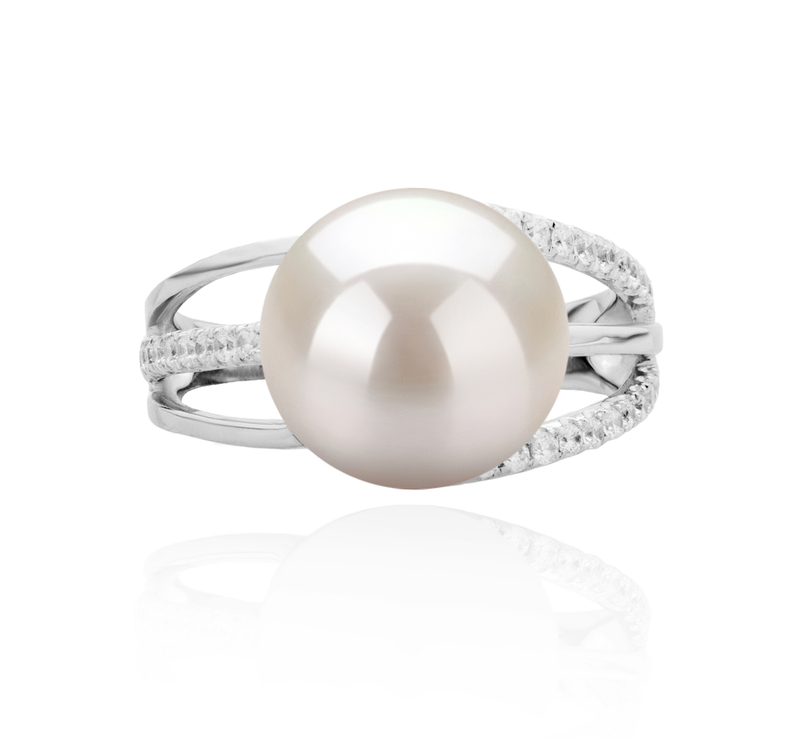 10-11mm AAAA Quality Freshwater Cultured Pearl Ring in Layana White - #4