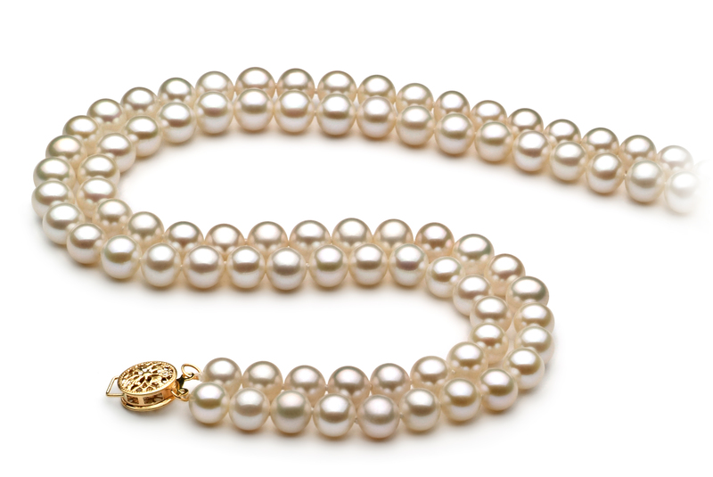 6-7mm AA Quality Freshwater Cultured Pearl Necklace in Liah White - #2