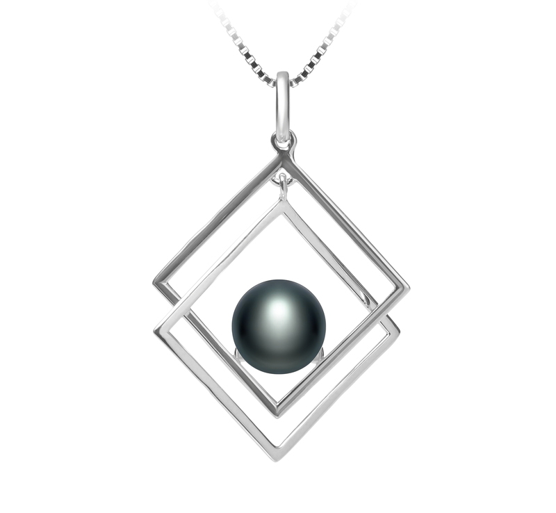 8-9mm AAA Quality Freshwater Cultured Pearl Pendant in Lilian Black - #1