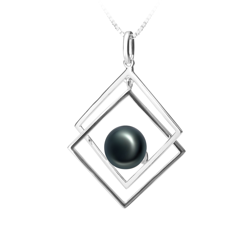 8-9mm AAA Quality Freshwater Cultured Pearl Pendant in Lilian Black - #2
