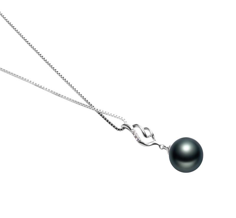 10-11mm AAA Quality Tahitian Cultured Pearl Pendant in Loretta Black - #3