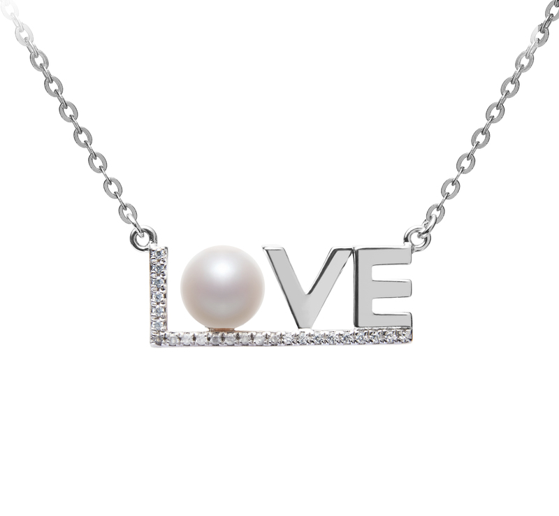 6-7mm AAAA Quality Freshwater Cultured Pearl Necklace in LOVE White - #1
