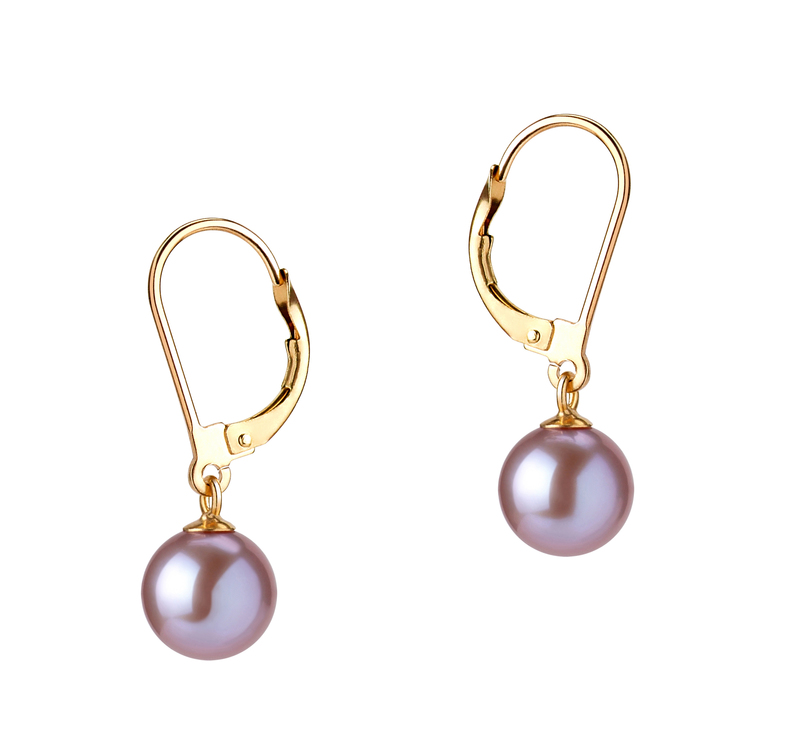 7-8mm AAAA Quality Freshwater Cultured Pearl Earring Pair in Marcella Lavender - #1