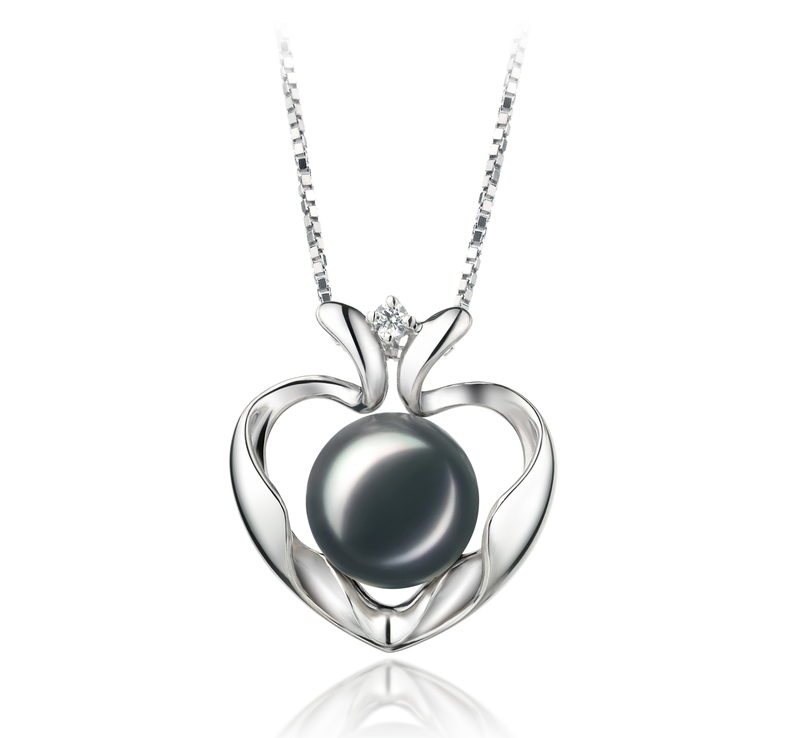 9-10mm AA Quality Freshwater Cultured Pearl Pendant in Marlina Heart Black - #1