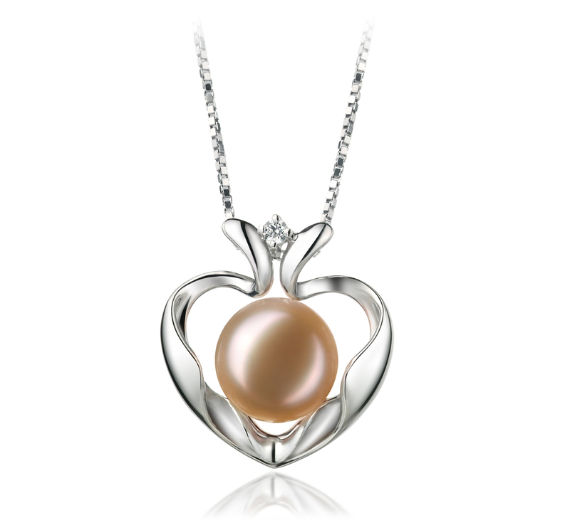 9-10mm AA Quality Freshwater Cultured Pearl Pendant in Marlina Heart Pink - #1