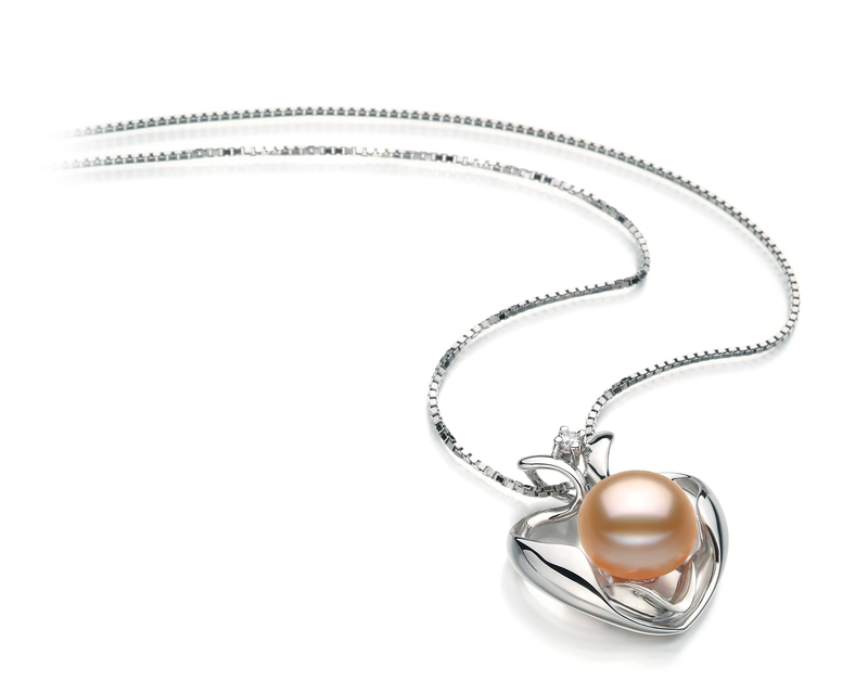 9-10mm AA Quality Freshwater Cultured Pearl Pendant in Marlina Heart Pink - #2