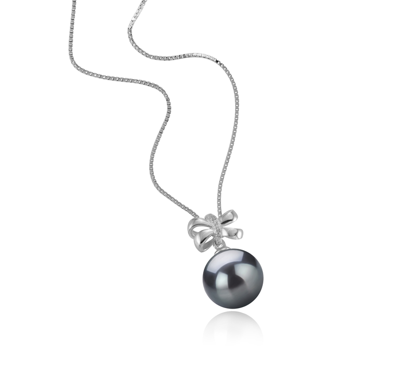 10-11mm AAA Quality Tahitian Cultured Pearl Pendant in Marte Black - #2