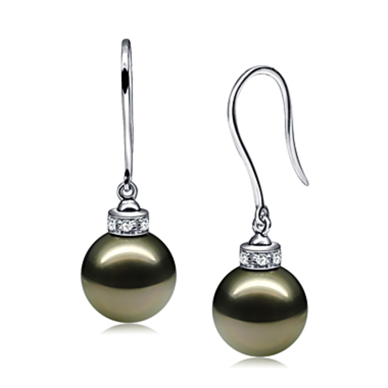 9-10mm AAA Quality Tahitian Cultured Pearl Earring Pair in Merry Black - #2