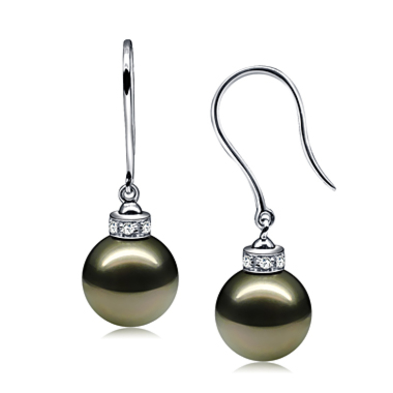 9-10mm AAA Quality Tahitian Cultured Pearl Earring Pair in Merry Black - #3