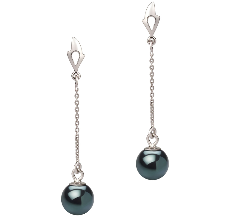6-7mm AA Quality Japanese Akoya Cultured Pearl Earring Pair in Misha Black - #1