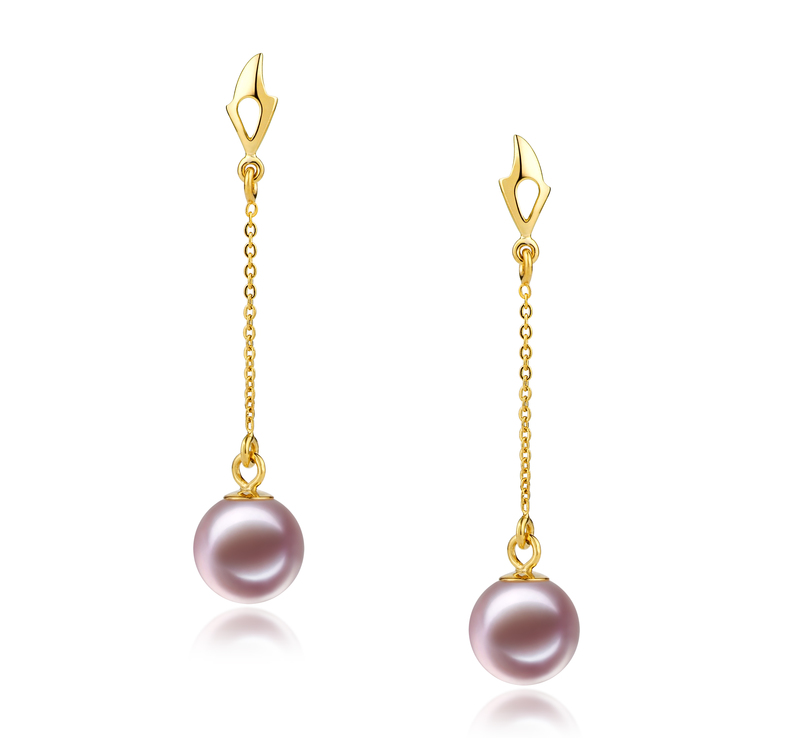 6-7mm AAAA Quality Freshwater Cultured Pearl Earring Pair in Misha Lavender - #1