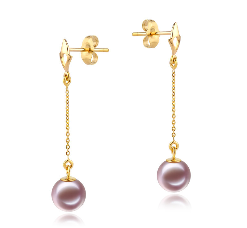 6-7mm AAAA Quality Freshwater Cultured Pearl Earring Pair in Misha Lavender - #2