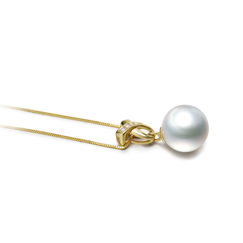10-11mm AAA Quality South Sea Cultured Pearl Pendant in Monica White - #3