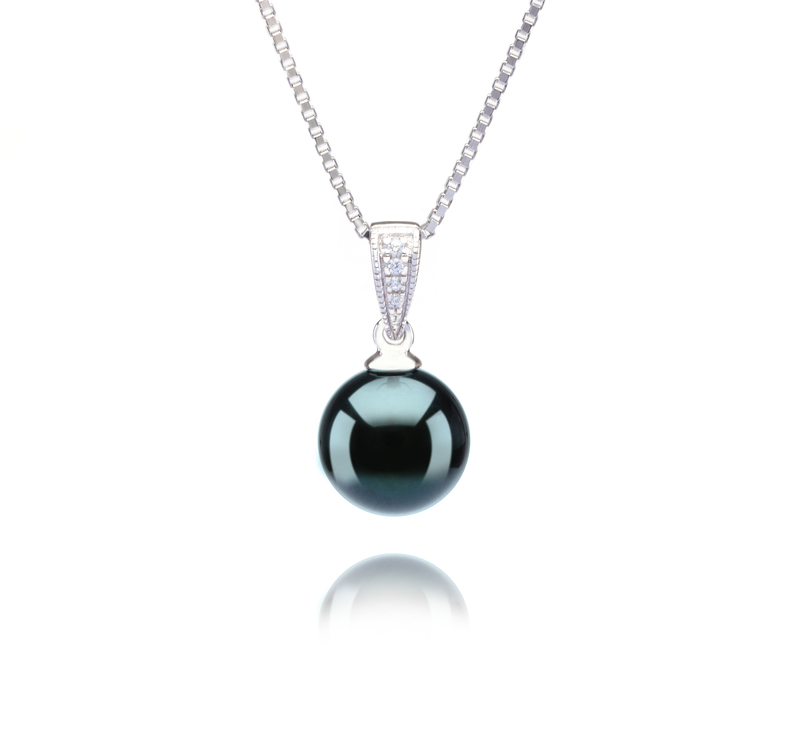 8-9mm AA Quality Japanese Akoya Cultured Pearl Pendant in Mosina Black - #1