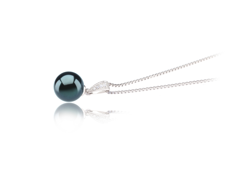 8-9mm AA Quality Japanese Akoya Cultured Pearl Pendant in Mosina Black - #3