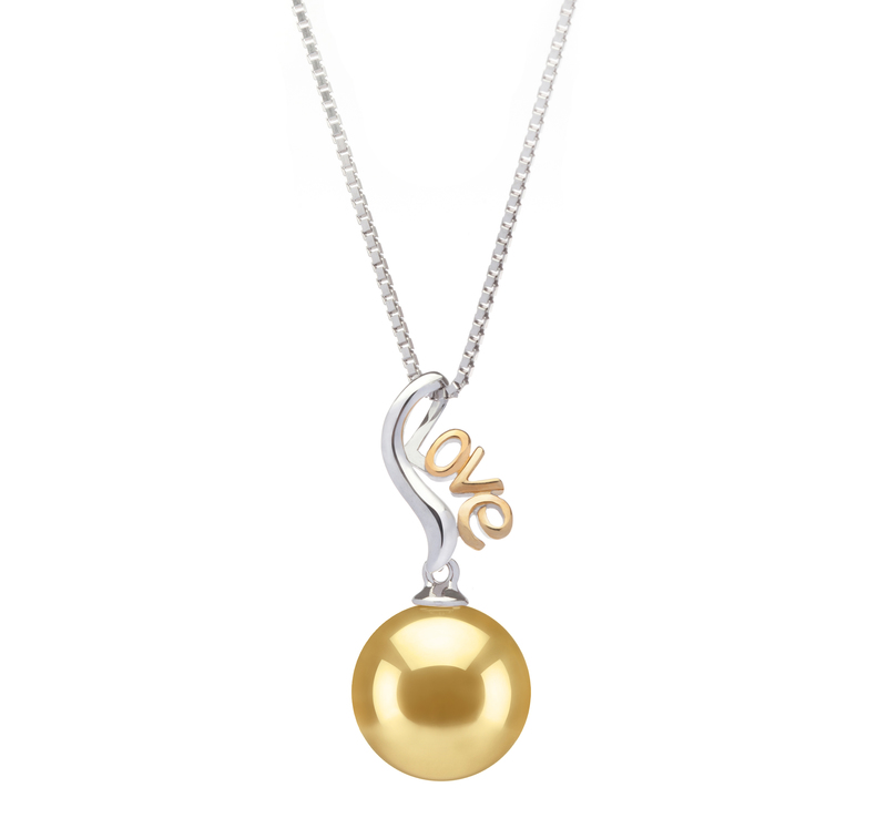 10-11mm AAA Quality South Sea Cultured Pearl Pendant in Nelia Gold - #1