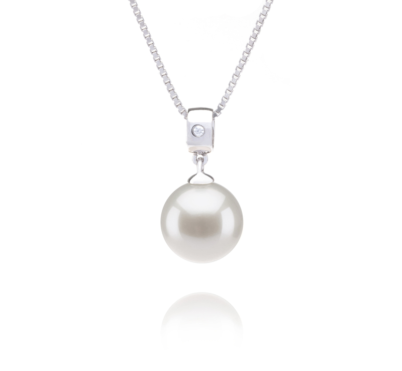 9-10mm AAAA Quality Freshwater Cultured Pearl Pendant in Nicole White - #1