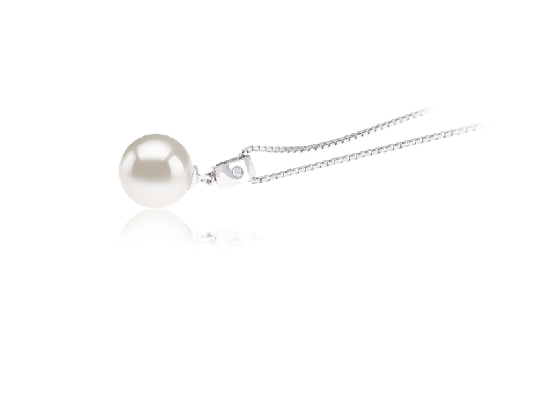 9-10mm AAAA Quality Freshwater Cultured Pearl Pendant in Nicole White - #3
