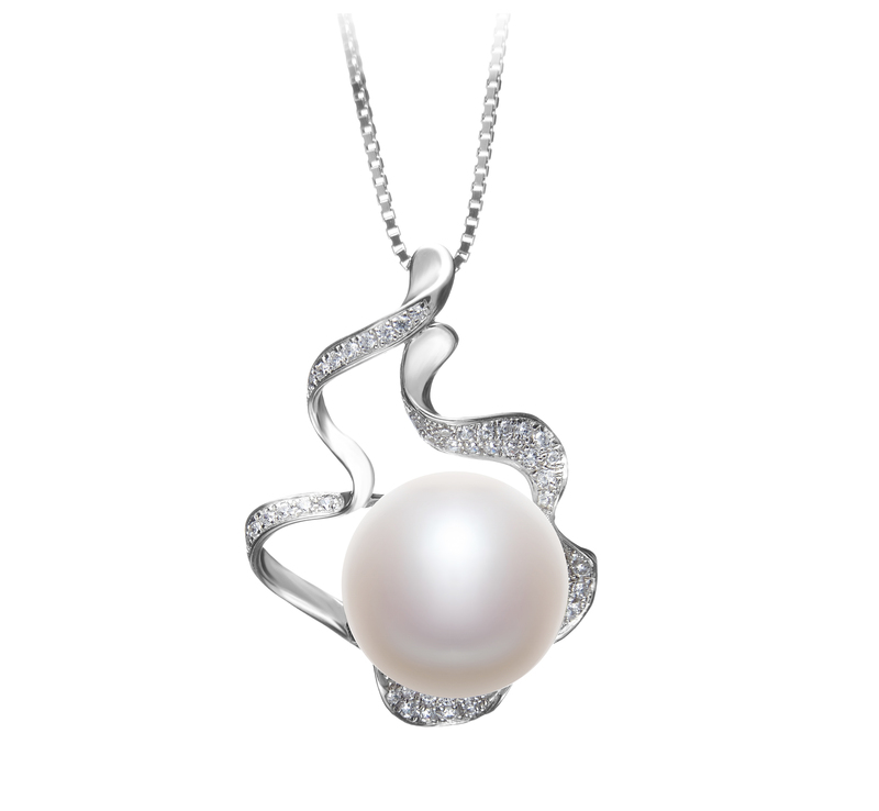 12-13mm AA Quality Freshwater Cultured Pearl Pendant in Oceane White - #1