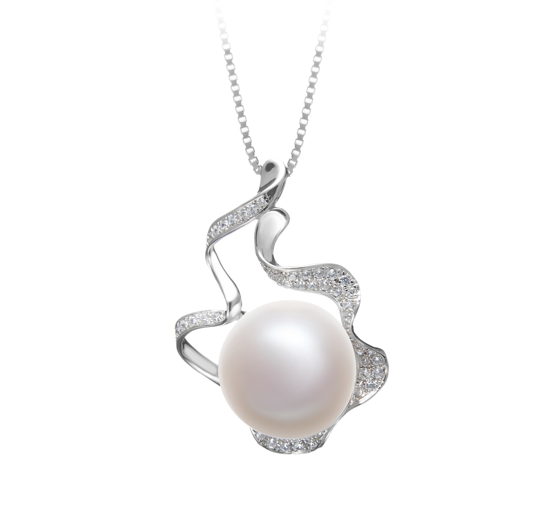 12-13mm AA Quality Freshwater Cultured Pearl Pendant in Oceane White - #2