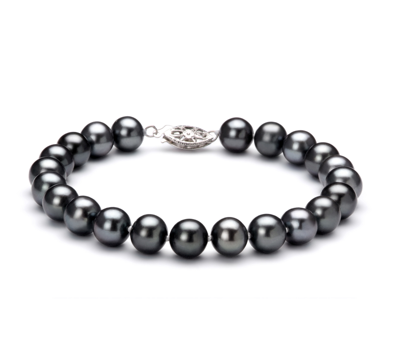 7.5-8.5mm AA Quality Freshwater Cultured Pearl Bracelet in Black - #1