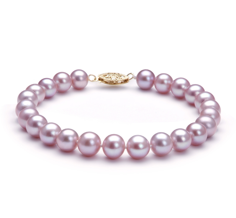 7-8mm AA Quality Freshwater Cultured Pearl Bracelet in Lavender - #1