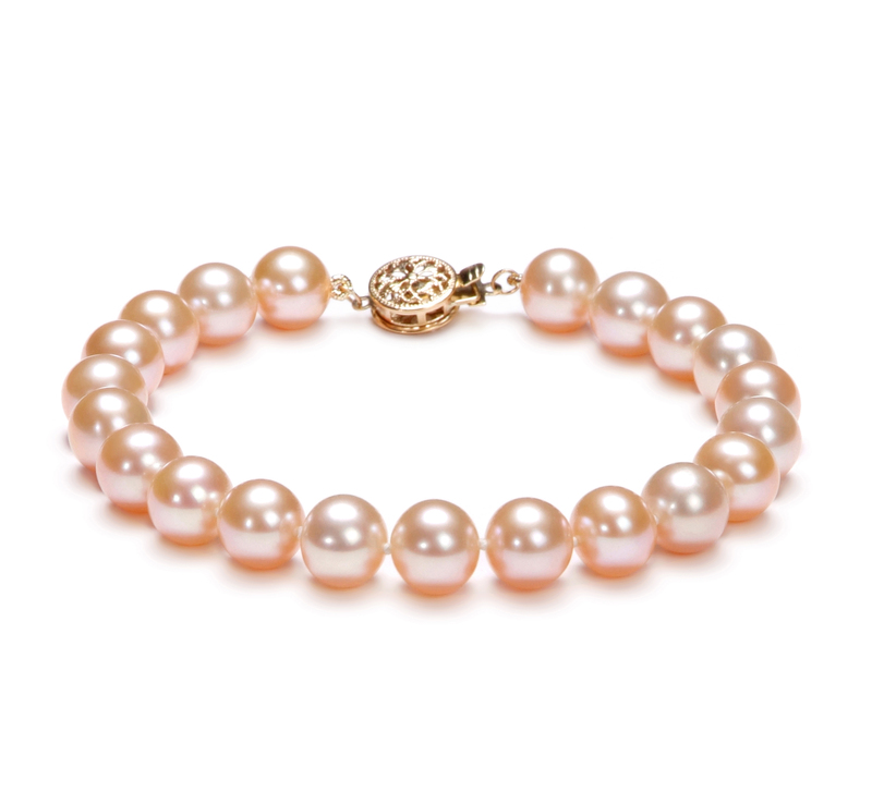 8-8.5mm AAA Quality Freshwater Cultured Pearl Bracelet in Pink - #1