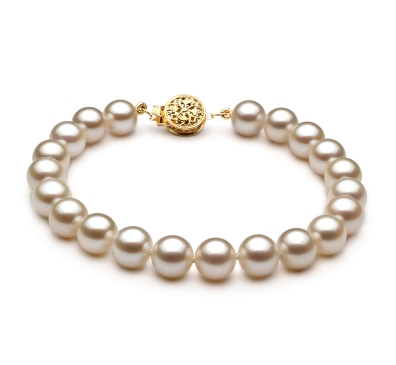 7-8mm AAAA Quality Freshwater Cultured Pearl Bracelet in White - #1