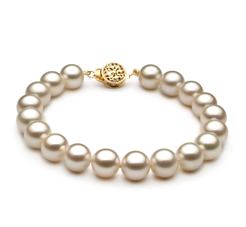 8-8.5mm AAAA Quality Freshwater Cultured Pearl Bracelet in White - #1