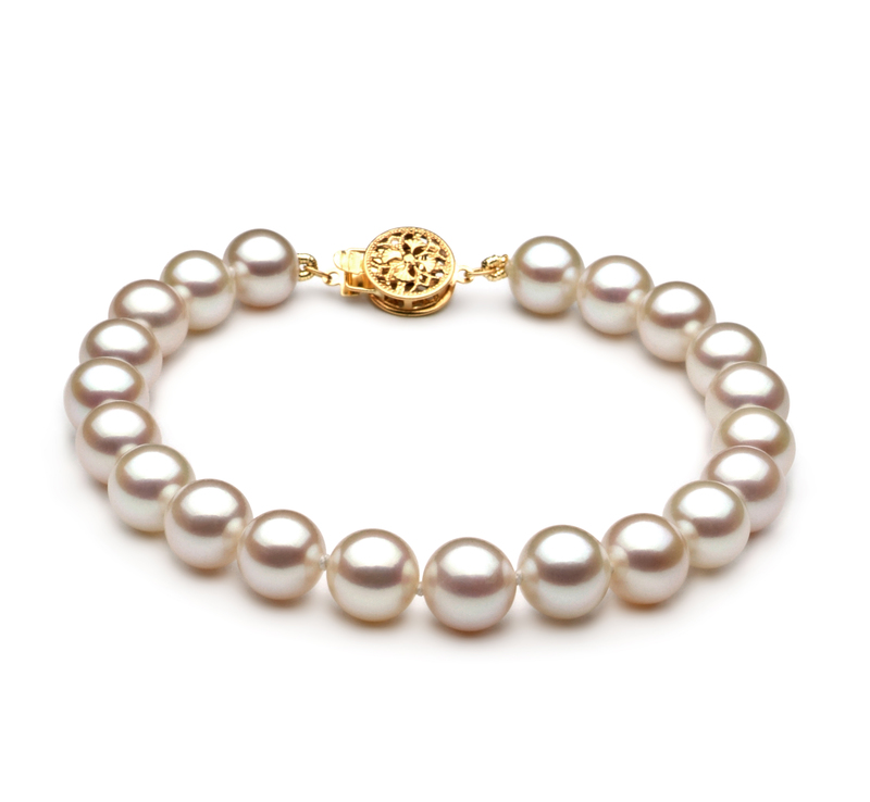 7-8mm AAA Quality Freshwater Cultured Pearl Bracelet in White - #1