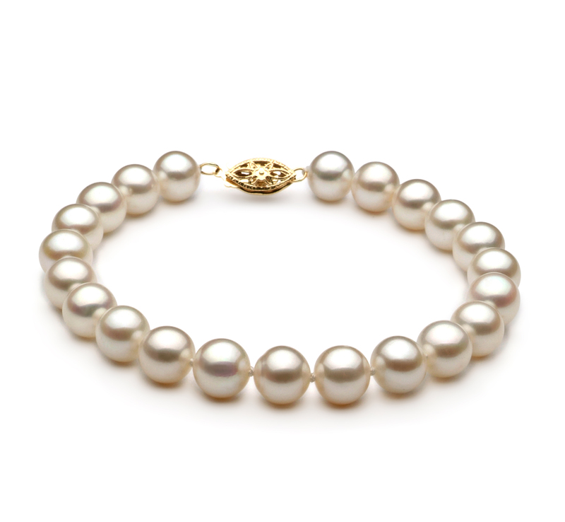 7.5-8.5mm AA Quality Freshwater Cultured Pearl Bracelet in White - #1