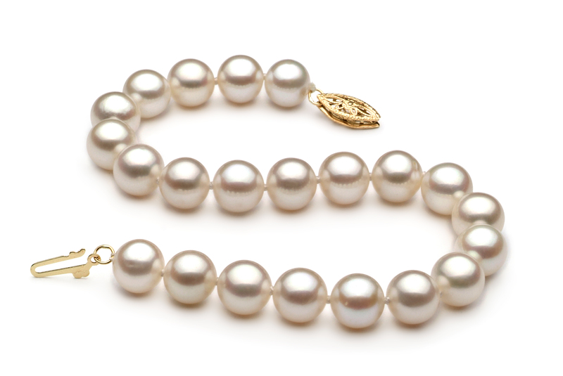 7.5-8.5mm AA Quality Freshwater Cultured Pearl Bracelet in White - #2