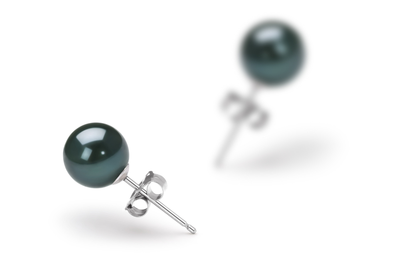 6-7mm AA Quality Japanese Akoya Cultured Pearl Earring Pair in Black - #2