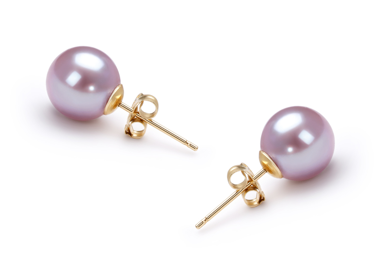 7-8mm AAAA Quality Freshwater Cultured Pearl Earring Pair in Lavender - #3