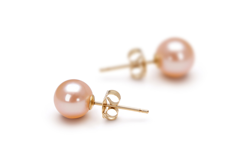 6-7mm AAAA Quality Freshwater Cultured Pearl Earring Pair in Pink - #2